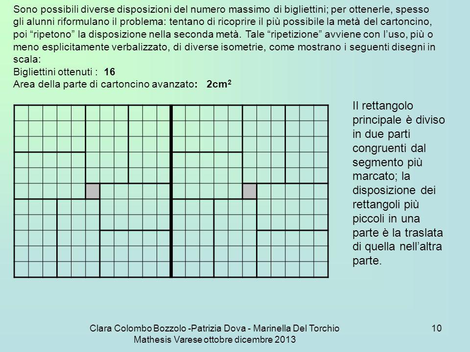 Clara Colombo Bozzolo -Patrizia Dova - Marinella Del Torchio Mathesis Varese ottobre dicembre 2013 10 Sono possibili diverse disposizioni del numero m