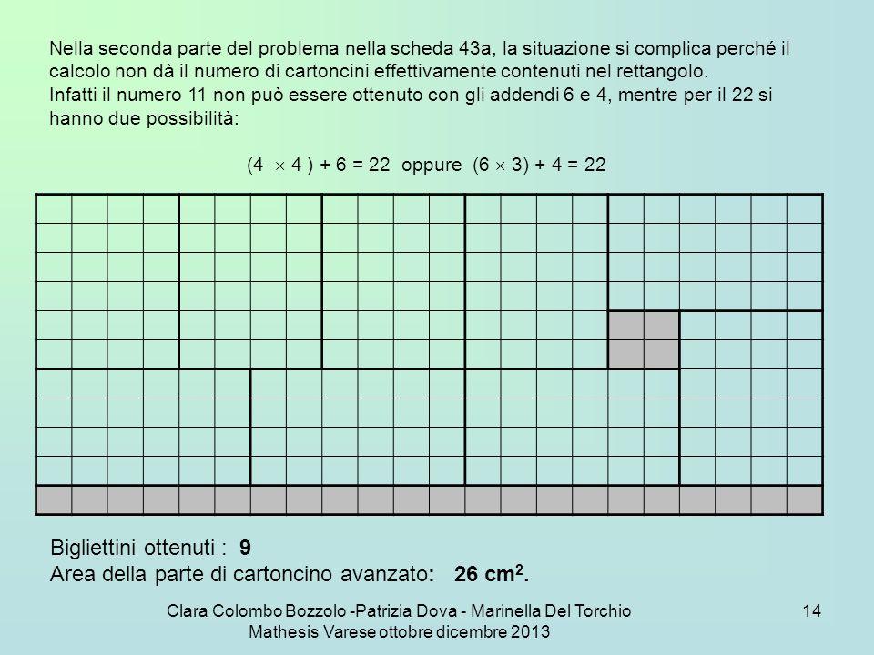 Clara Colombo Bozzolo -Patrizia Dova - Marinella Del Torchio Mathesis Varese ottobre dicembre 2013 14 Nella seconda parte del problema nella scheda 43