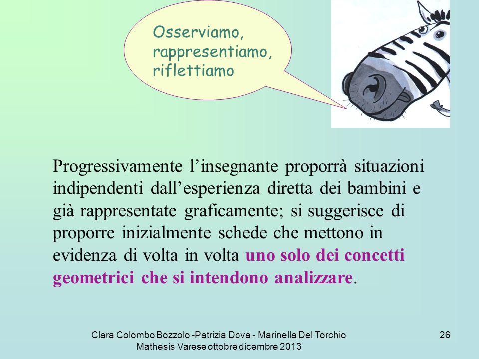 Clara Colombo Bozzolo -Patrizia Dova - Marinella Del Torchio Mathesis Varese ottobre dicembre 2013 26 Osserviamo, rappresentiamo, riflettiamo Progress