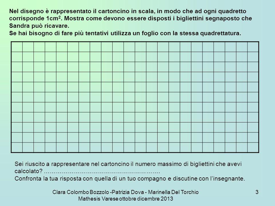 Clara Colombo Bozzolo -Patrizia Dova - Marinella Del Torchio Mathesis Varese ottobre dicembre 2013 14 Nella seconda parte del problema nella scheda 43a, la situazione si complica perché il calcolo non dà il numero di cartoncini effettivamente contenuti nel rettangolo.
