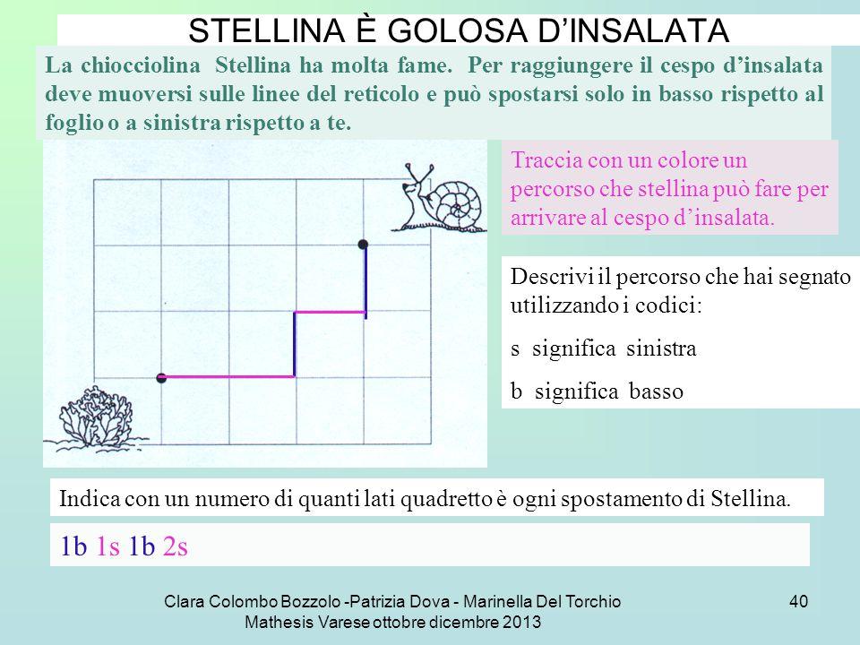 Clara Colombo Bozzolo -Patrizia Dova - Marinella Del Torchio Mathesis Varese ottobre dicembre 2013 40 STELLINA È GOLOSA D'INSALATA La chiocciolina Ste