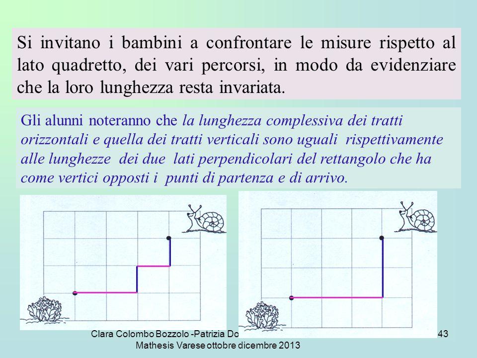 Clara Colombo Bozzolo -Patrizia Dova - Marinella Del Torchio Mathesis Varese ottobre dicembre 2013 43 Si invitano i bambini a confrontare le misure ri