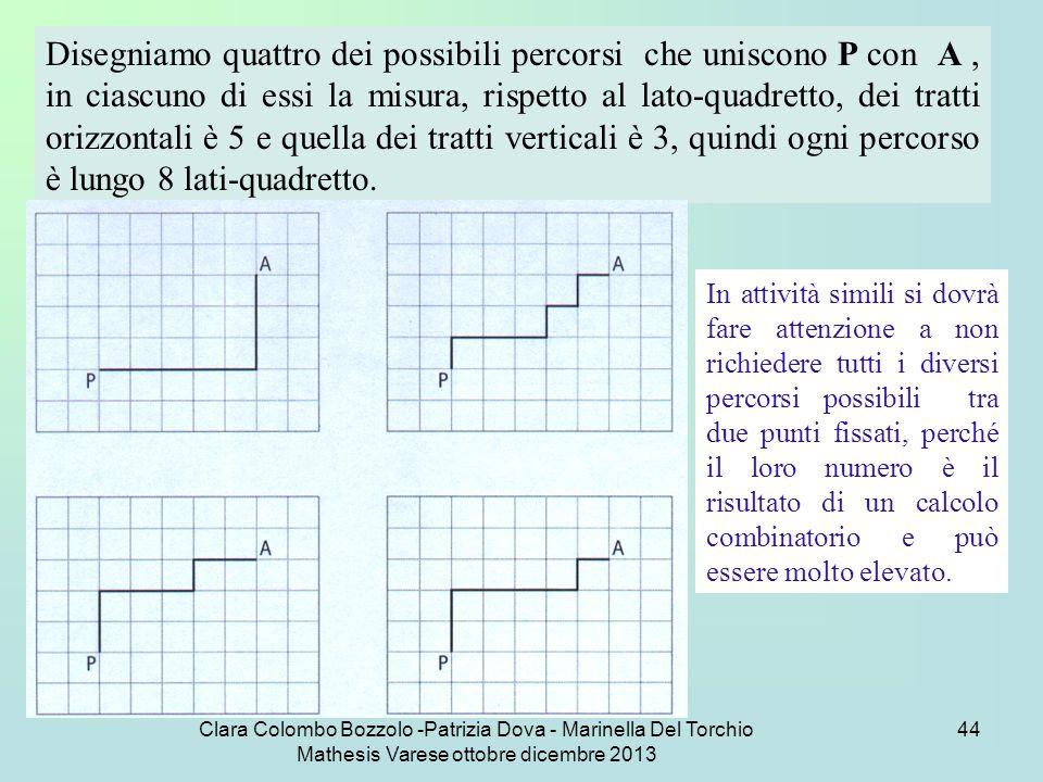 Clara Colombo Bozzolo -Patrizia Dova - Marinella Del Torchio Mathesis Varese ottobre dicembre 2013 44 Disegniamo quattro dei possibili percorsi che un