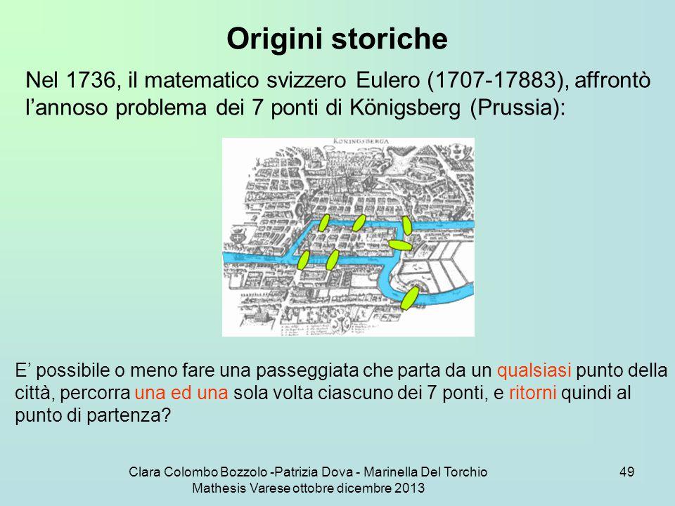 Clara Colombo Bozzolo -Patrizia Dova - Marinella Del Torchio Mathesis Varese ottobre dicembre 2013 49 Origini storiche Nel 1736, il matematico svizzer