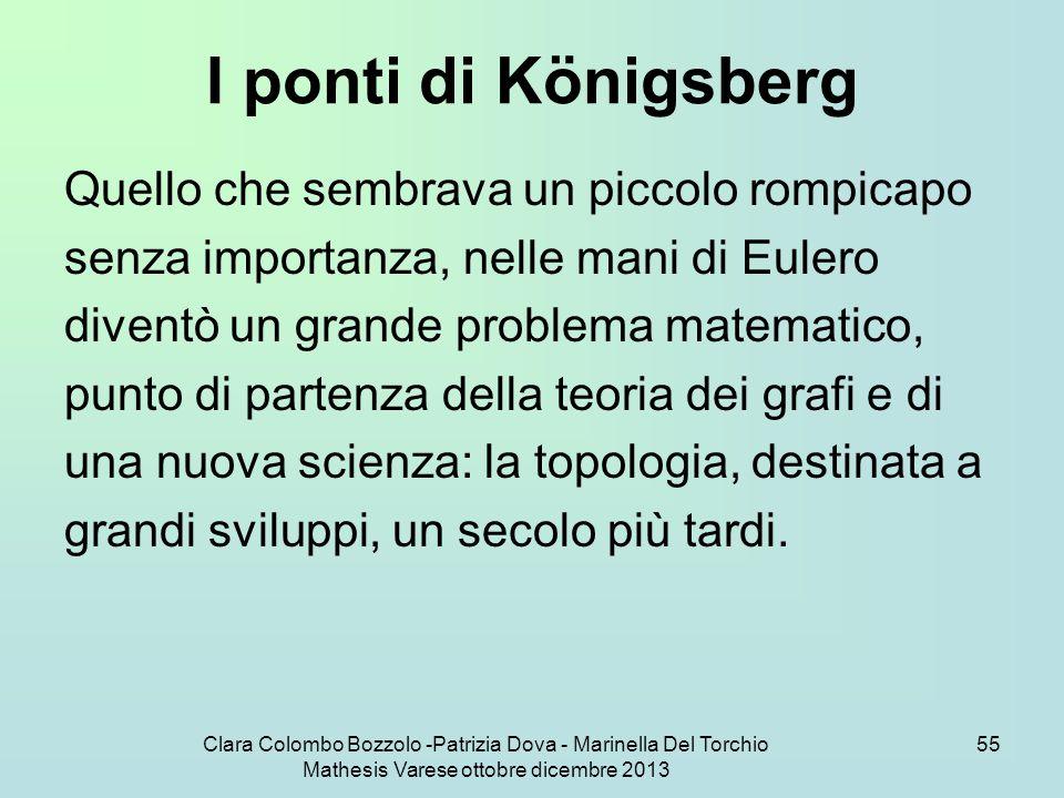 Clara Colombo Bozzolo -Patrizia Dova - Marinella Del Torchio Mathesis Varese ottobre dicembre 2013 55 I ponti di Königsberg Quello che sembrava un pic