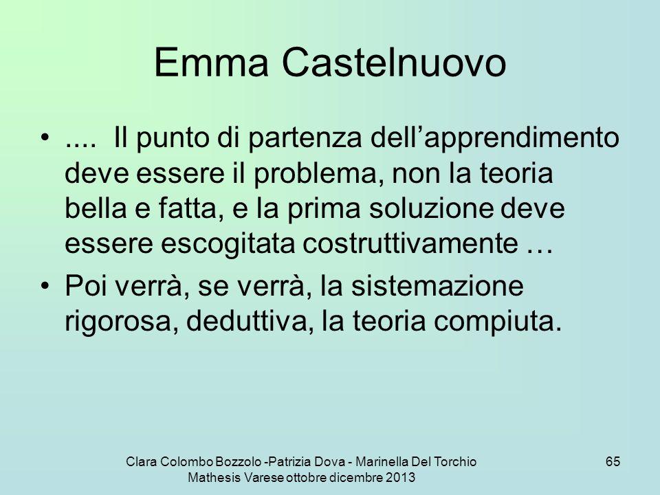 Clara Colombo Bozzolo -Patrizia Dova - Marinella Del Torchio Mathesis Varese ottobre dicembre 2013 65 Emma Castelnuovo.... Il punto di partenza dell'a