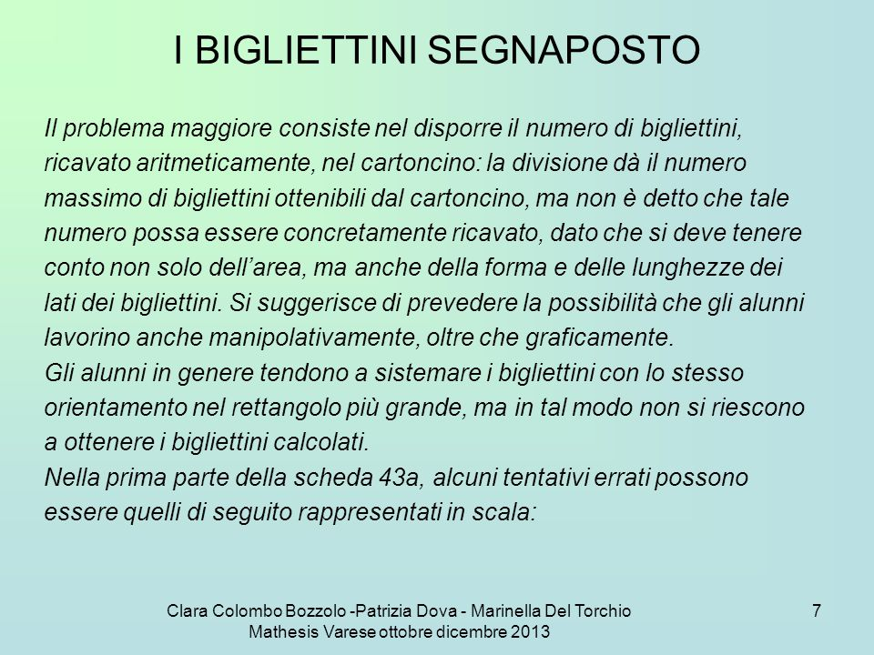 Clara Colombo Bozzolo -Patrizia Dova - Marinella Del Torchio Mathesis Varese ottobre dicembre 2013 28 C.
