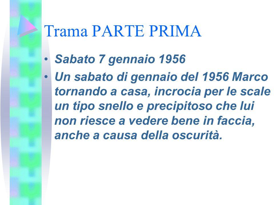 Trama PARTE PRIMA Sabato 7 gennaio 1956 Un sabato di gennaio del 1956 Marco tornando a casa, incrocia per le scale un tipo snello e precipitoso che lu