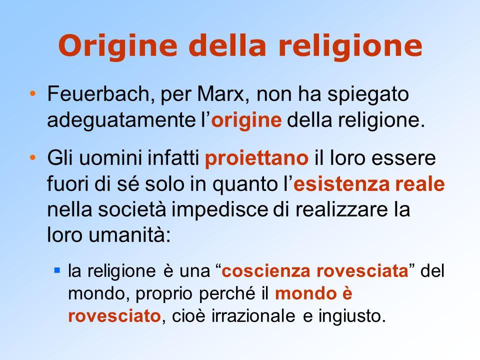 Origine della religione Feuerbach, per Marx, non ha spiegato adeguatamente l'origine della religione. Gli uomini infatti proiettano il loro essere fuo