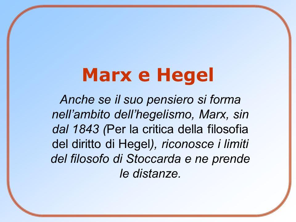 Anche se il suo pensiero si forma nell'ambito dell'hegelismo, Marx, sin dal 1843 (Per la critica della filosofia del diritto di Hegel), riconosce i li
