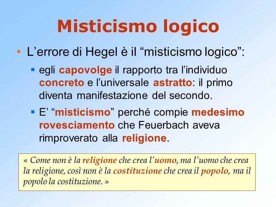 """Misticismo logico L'errore di Hegel è il """"misticismo logico"""":  egli capovolge il rapporto tra l'individuo concreto e l'universale astratto: il primo"""