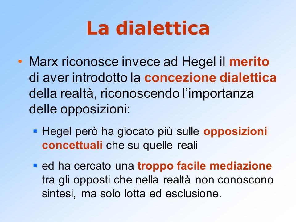 La dialettica Marx riconosce invece ad Hegel il merito di aver introdotto la concezione dialettica della realtà, riconoscendo l'importanza delle oppos