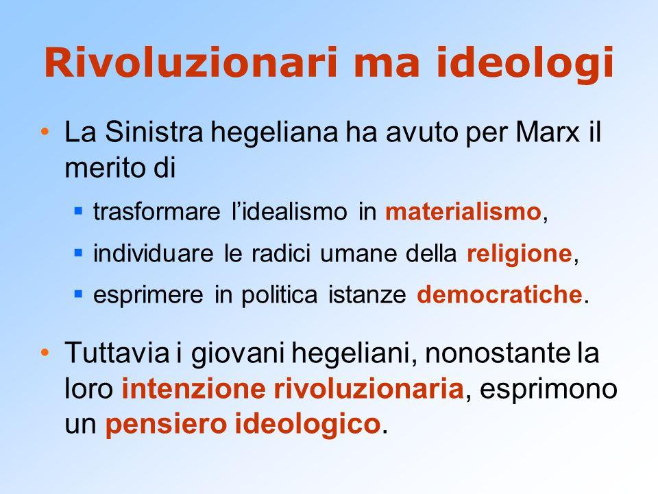 Rivoluzionari ma ideologi La Sinistra hegeliana ha avuto per Marx il merito di  trasformare l'idealismo in materialismo,  individuare le radici uman