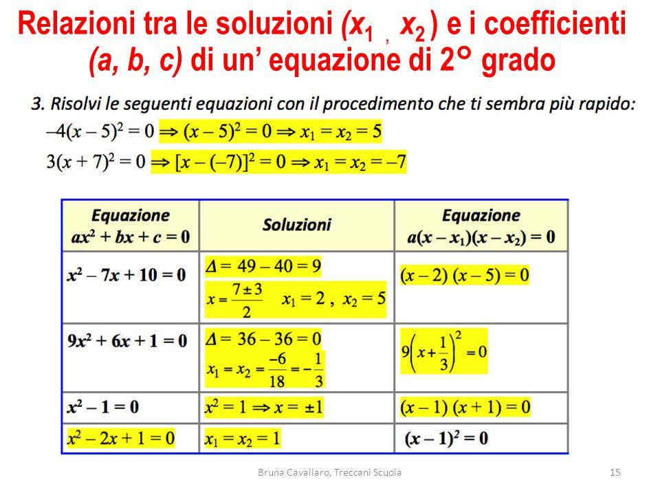 Relazioni tra le soluzioni (x 1, x 2 ) e i coefficienti (a, b, c) di un' equazione di 2° grado 15Bruna Cavallaro, Treccani Scuola