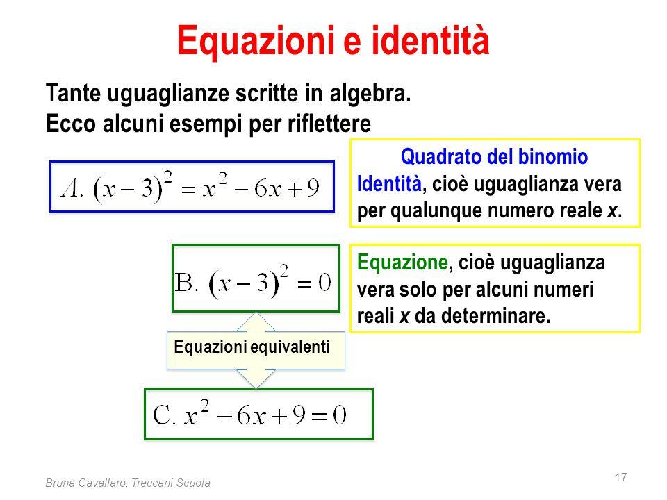17 Bruna Cavallaro, Treccani Scuola Equazioni e identità Tante uguaglianze scritte in algebra. Ecco alcuni esempi per riflettere Quadrato del binomio
