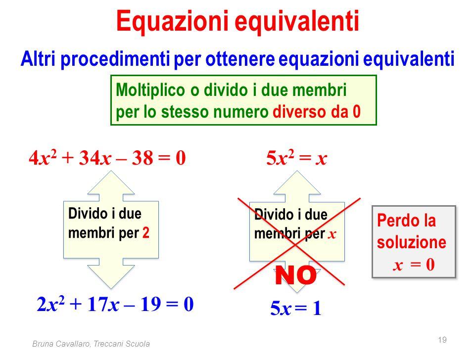 19 Bruna Cavallaro, Treccani Scuola Equazioni equivalenti Altri procedimenti per ottenere equazioni equivalenti 5x 2 = x 5x = 1 Divido i due membri pe