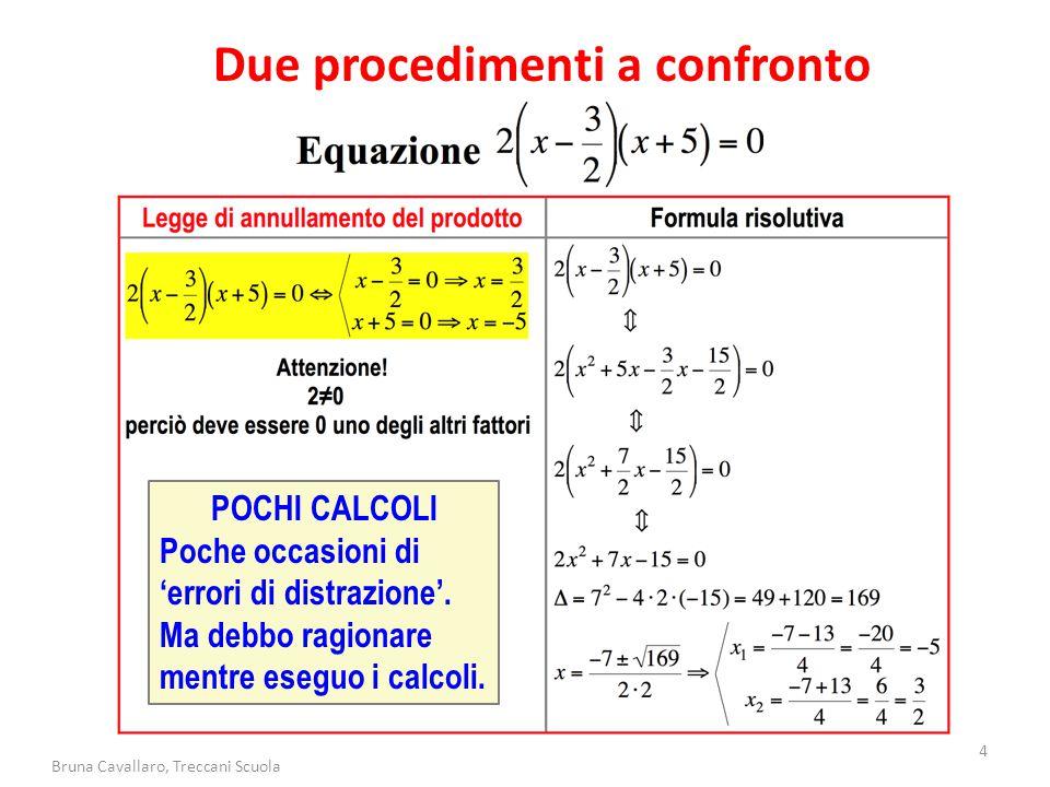 4 Bruna Cavallaro, Treccani Scuola Due procedimenti a confronto POCHI CALCOLI Poche occasioni di 'errori di distrazione'. Ma debbo ragionare mentre es