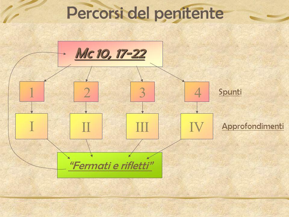 Mc 10, 17-22 Mc 10, 17-22 Fermati e rifletti II III IV Spunti Approfondimenti Percorsi del penitente I 1234
