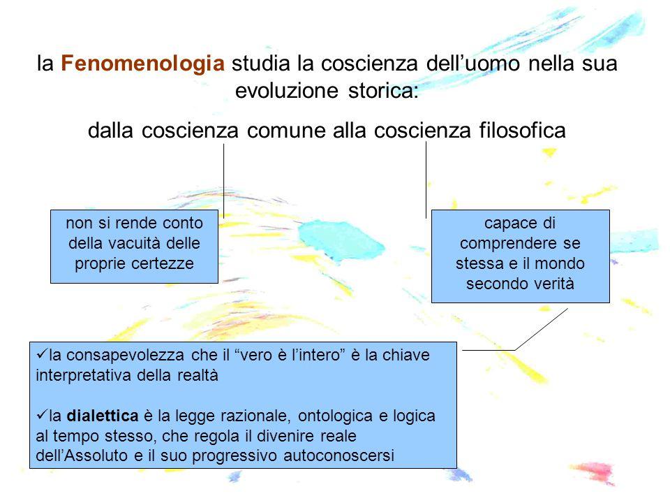 la Fenomenologia studia la coscienza dell'uomo nella sua evoluzione storica: dalla coscienza comune alla coscienza filosofica non si rende conto della