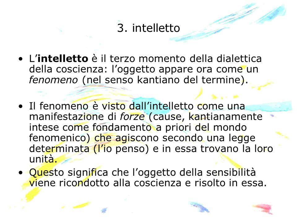 3. intelletto L'intelletto è il terzo momento della dialettica della coscienza: l'oggetto appare ora come un fenomeno (nel senso kantiano del termine)