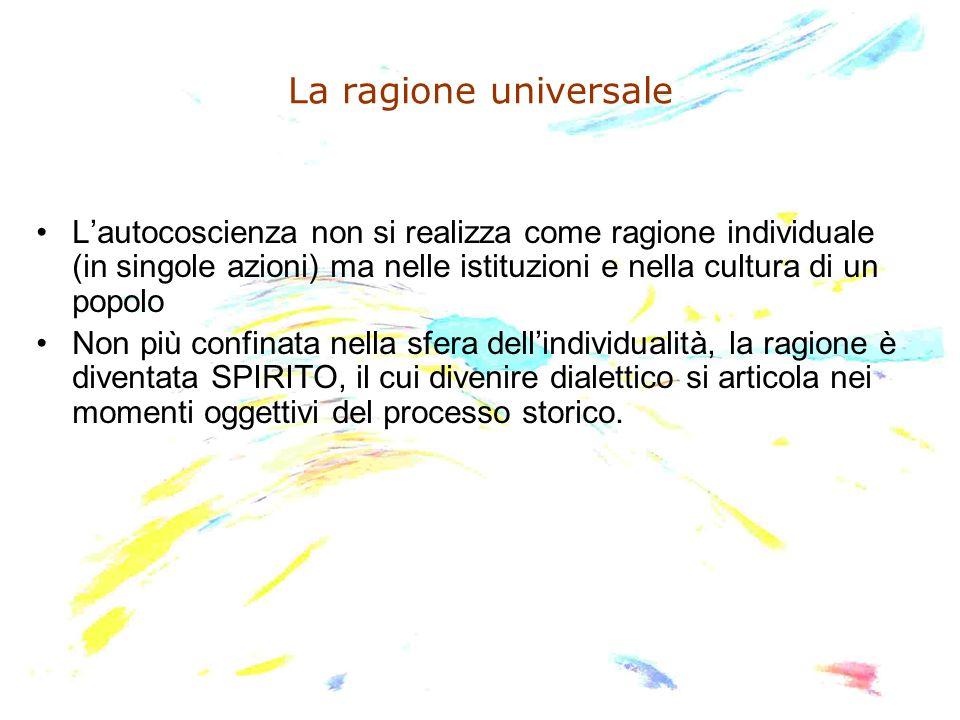 La ragione universale L'autocoscienza non si realizza come ragione individuale (in singole azioni) ma nelle istituzioni e nella cultura di un popolo N