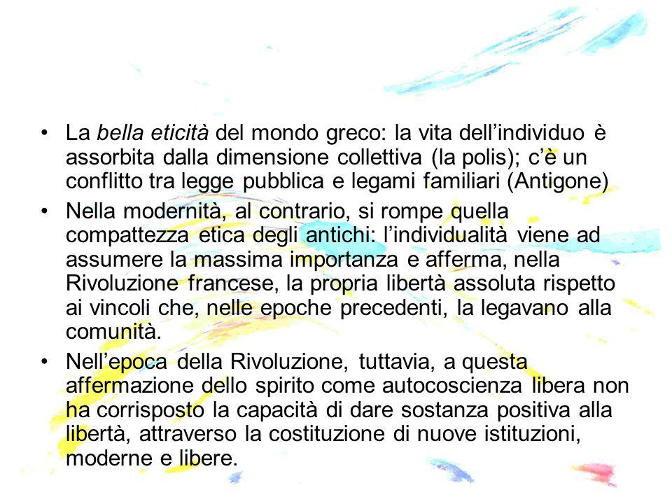 La bella eticità del mondo greco: la vita dell'individuo è assorbita dalla dimensione collettiva (la polis); c'è un conflitto tra legge pubblica e leg
