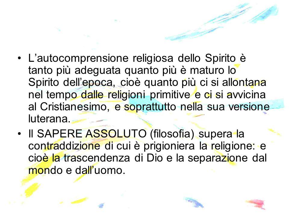 L'autocomprensione religiosa dello Spirito è tanto più adeguata quanto più è maturo lo Spirito dell'epoca, cioè quanto più ci si allontana nel tempo d