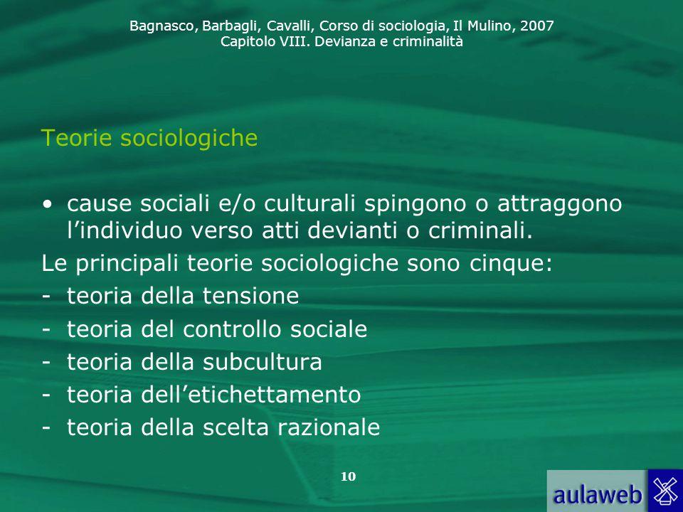 Bagnasco, Barbagli, Cavalli, Corso di sociologia, Il Mulino, 2007 Capitolo VIII. Devianza e criminalità 10 Teorie sociologiche cause sociali e/o cultu