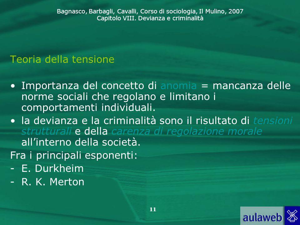 Bagnasco, Barbagli, Cavalli, Corso di sociologia, Il Mulino, 2007 Capitolo VIII. Devianza e criminalità 11 Teoria della tensione Importanza del concet
