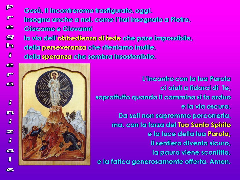 Gesù, ti incontreremo trasfigurato, oggi. Insegna anche a noi, come l'hai insegnato a Pietro, Giacomo e Giovanni la via dell'obbedienza di fede che pa