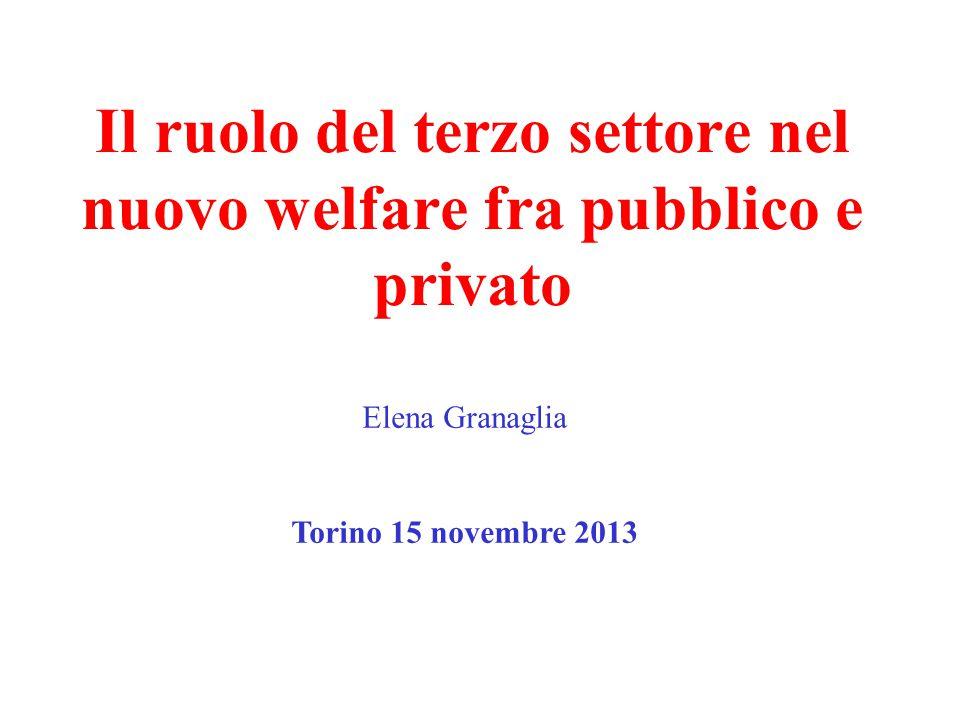 Il ruolo del terzo settore nel nuovo welfare fra pubblico e privato Elena Granaglia Torino 15 novembre 2013