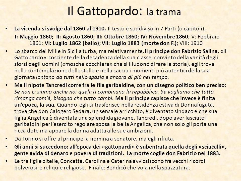 Il Gattopardo : la trama La vicenda si svolge dal 1860 al 1910. Il testo è suddiviso in 7 Parti (o capitoli). I: Maggio 1860; II: Agosto 1860; III: Ot