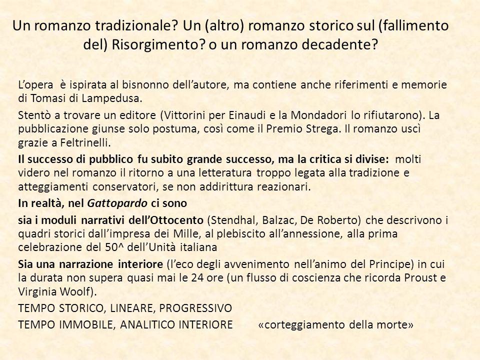 Un romanzo tradizionale? Un (altro) romanzo storico sul (fallimento del) Risorgimento? o un romanzo decadente? L'opera è ispirata al bisnonno dell'aut