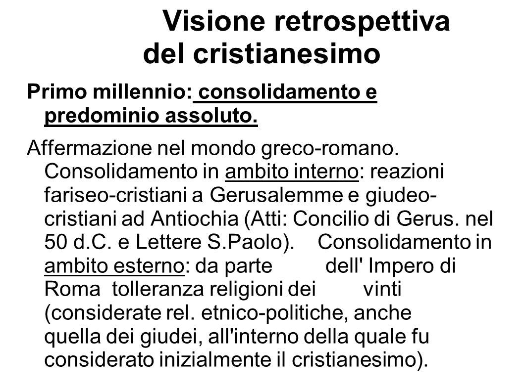 Visione retrospettiva del cristianesimo Primo millennio: consolidamento e predominio assoluto. Affermazione nel mondo greco-romano. Consolidamento in