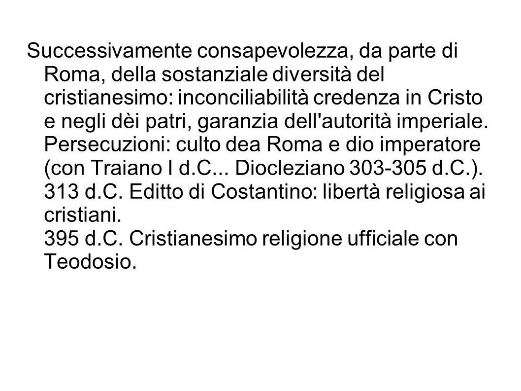 Successivamente consapevolezza, da parte di Roma, della sostanziale diversità del cristianesimo: inconciliabilità credenza in Cristo e negli dèi patri