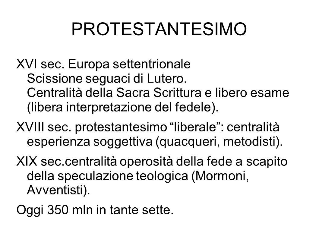 PROTESTANTESIMO XVI sec. Europa settentrionale Scissione seguaci di Lutero. Centralità della Sacra Scrittura e libero esame (libera interpretazione de