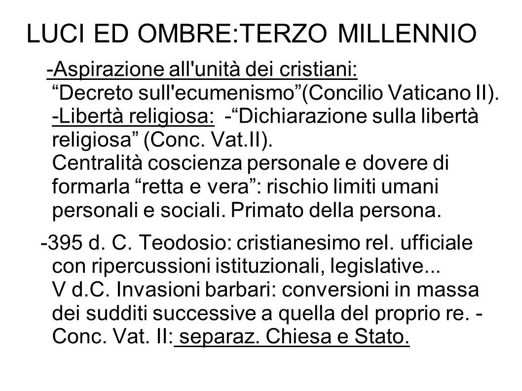 """LUCI ED OMBRE:TERZO MILLENNIO -Aspirazione all'unità dei cristiani: """"Decreto sull'ecumenismo""""(Concilio Vaticano II). -Libertà religiosa: -""""Dichiarazio"""