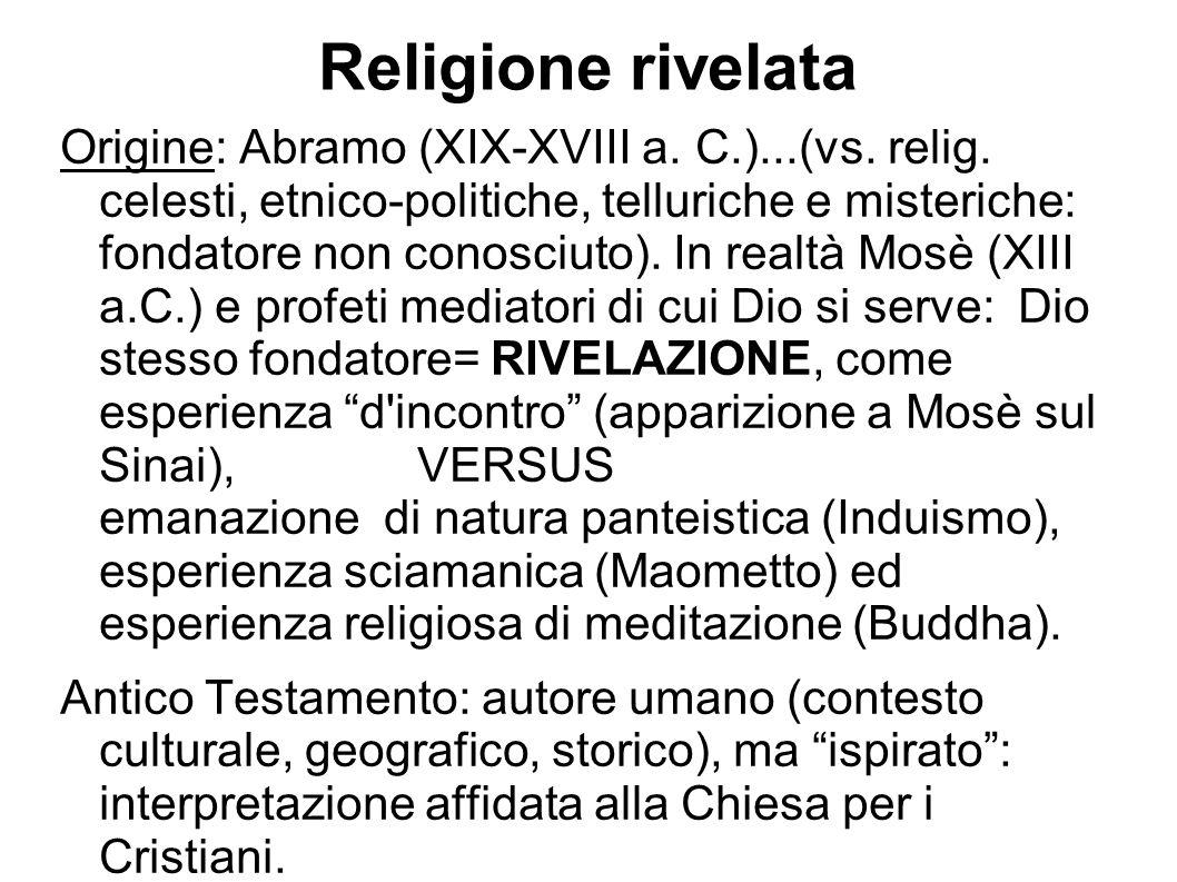 Religione rivelata Origine: Abramo (XIX-XVIII a. C.)...(vs. relig. celesti, etnico-politiche, telluriche e misteriche: fondatore non conosciuto). In r