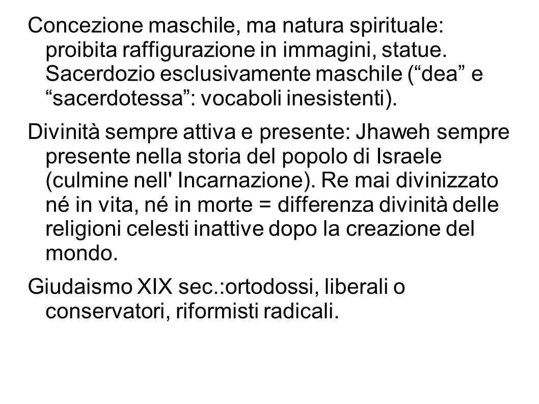 """Concezione maschile, ma natura spirituale: proibita raffigurazione in immagini, statue. Sacerdozio esclusivamente maschile (""""dea"""" e """"sacerdotessa"""": vo"""