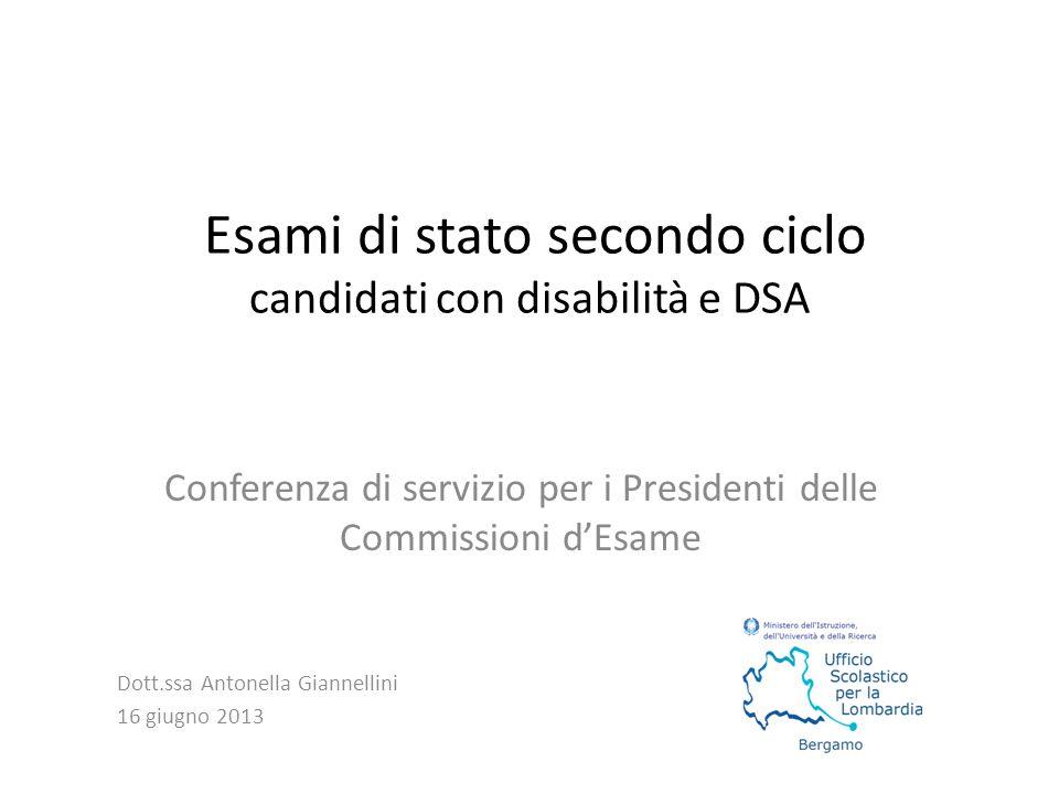 Esami di stato secondo ciclo candidati con disabilità e DSA Conferenza di servizio per i Presidenti delle Commissioni d'Esame Dott.ssa Antonella Giann