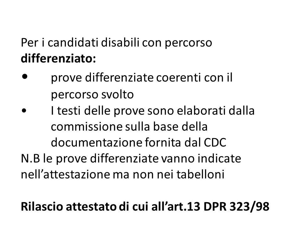 Per i candidati disabili con percorso differenziato: prove differenziate coerenti con il percorso svolto I testi delle prove sono elaborati dalla comm