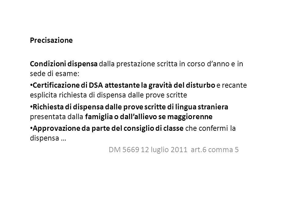 Precisazione Condizioni dispensa dalla prestazione scritta in corso d'anno e in sede di esame: Certificazione di DSA attestante la gravità del disturb