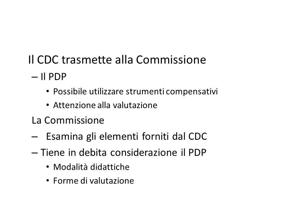 Il CDC trasmette alla Commissione – Il PDP Possibile utilizzare strumenti compensativi Attenzione alla valutazione La Commissione – Esamina gli elemen