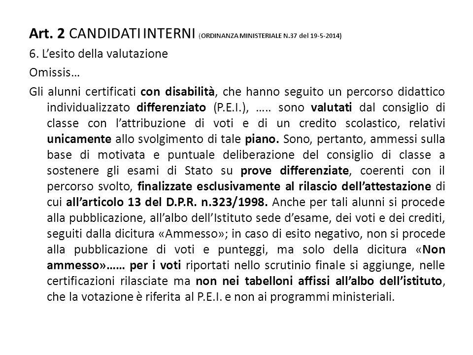 Art. 2 CANDIDATI INTERNI (ORDINANZA MINISTERIALE N.37 del 19-5-2014) 6. L'esito della valutazione Omissis… Gli alunni certificati con disabilità, che