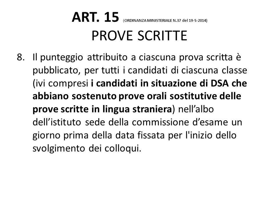 ART. 15 (ORDINANZA MINISTERIALE N.37 del 19-5-2014) PROVE SCRITTE 8.Il punteggio attribuito a ciascuna prova scritta è pubblicato, per tutti i candida