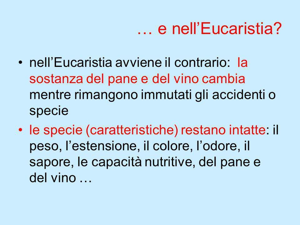 … e nell'Eucaristia? nell'Eucaristia avviene il contrario: la sostanza del pane e del vino cambia mentre rimangono immutati gli accidenti o specie le