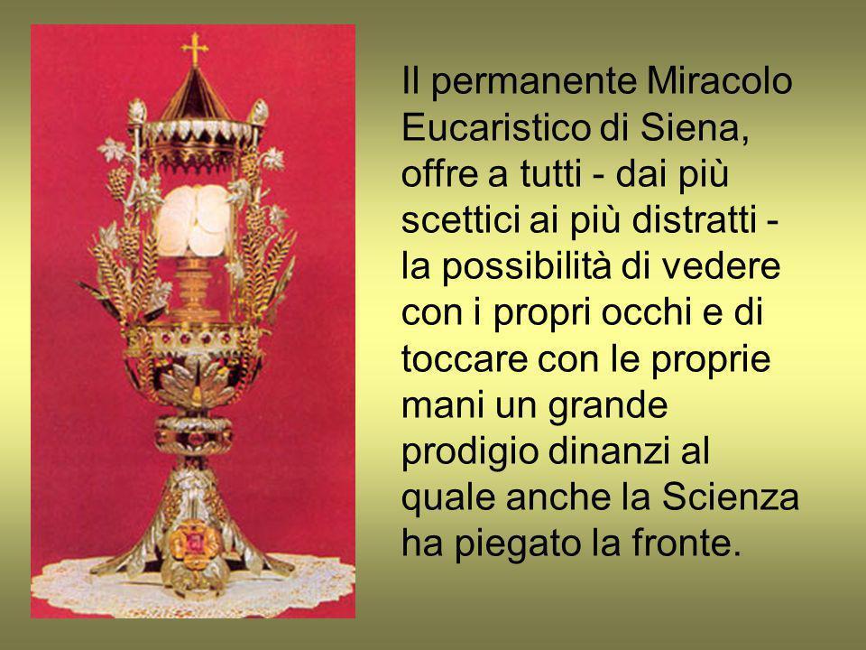 Il permanente Miracolo Eucaristico di Siena, offre a tutti - dai più scettici ai più distratti - la possibilità di vedere con i propri occhi e di tocc