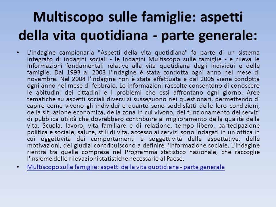 Multiscopo sulle famiglie: aspetti della vita quotidiana - parte generale: L'indagine campionaria