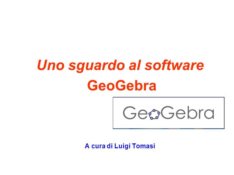 2 Uno sguardo a GeoGebra GeoGebra (http://www.geogebra.org/cms/) è un software di geometria dinamica - in realtà, di matematica dinamica - con cui gli allievi possono costruire figure attraverso l'uso di comandi che permettono di collocare oggetti geometrici (punti, rette, segmenti, poligoni, cerchi, ecc.) su un piano.