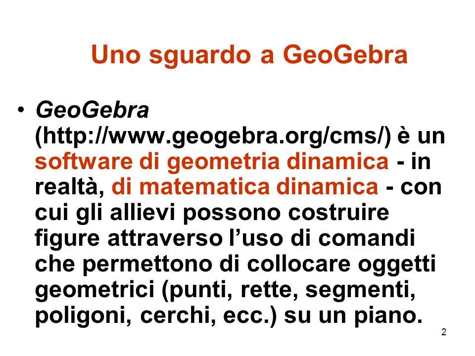 3 Uno sguardo a GeoGebra La caratteristica peculiare di GeoGebra, analoga a quella degli altri software di geometria dinamica diffusi in precedenza (Cabri-Géomètre in area europea, The Geometer's Sketchpad in area nord-americana), è la dinamicità.